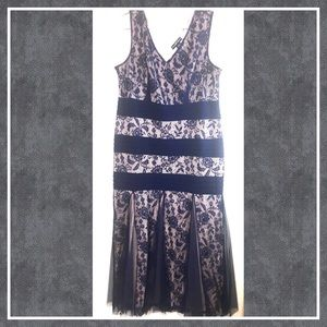 Candalite Dresses/Navy long lace dress